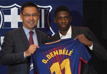 Dembélé, presentado con el FC Barcelona ante miles de aficionados