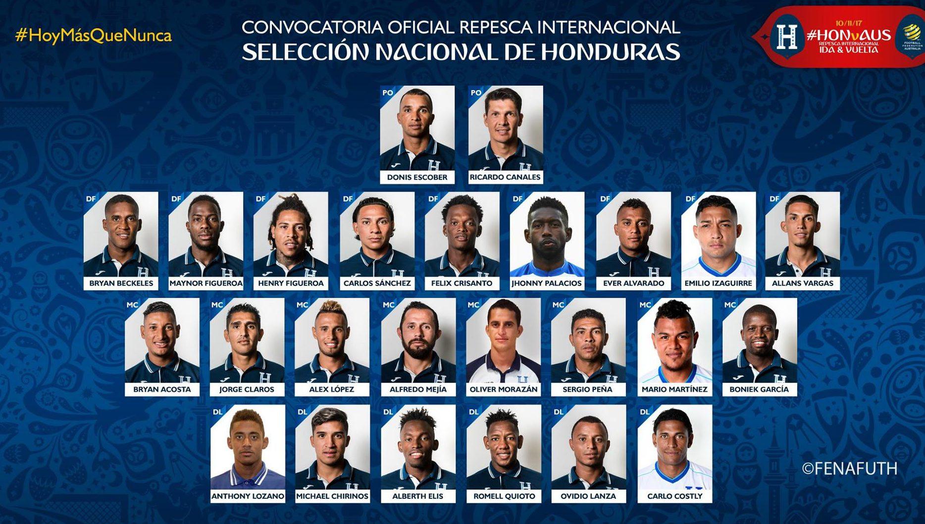 """Honduras da la lista para enfrentar a los """"Socceroos"""" en la repesca FIFA"""
